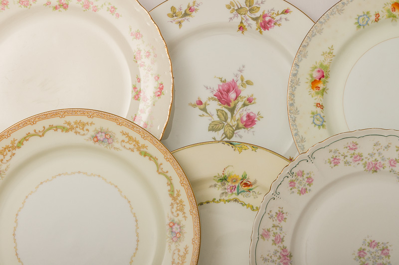 Vintage Mixed Floral China Plates u2013 Dinner Plates & Vintage Mixed Floral China Plates u2013 Dinner Plates - Metro Cuisine ...