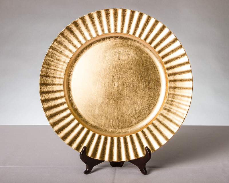13″ Lacquered Charger – Fluted Gold - Metro Cuisine - Columbus, OH